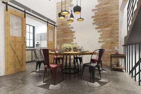Photo pour 3d rendering scandinavian vintage modern kitchen with loft dining set area - image libre de droit