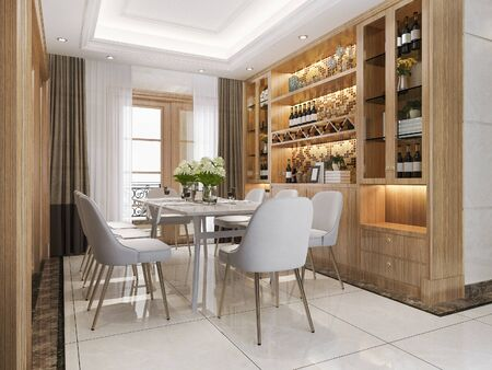 Photo pour 3d rendering modern dining room and  living room with luxury decor wine shelf - image libre de droit