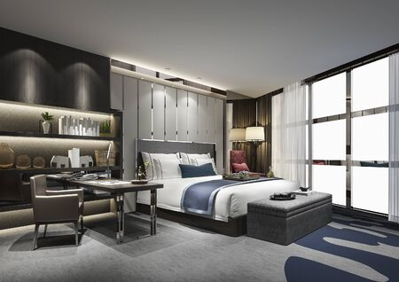 Photo pour 3d rendering beautiful luxury bedroom suite in hotel with tv and working table and shelf - image libre de droit