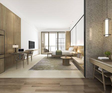 Photo pour 3d rendering modern luxury bedroom suite and bathroom - image libre de droit