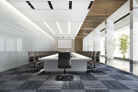 Photo pour 3d rendering business meeting room on high rise office building - image libre de droit
