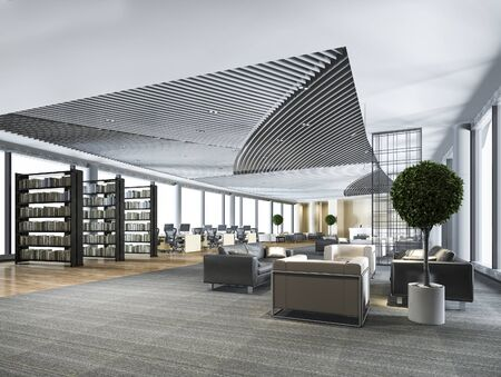 Photo pour 3d rendering elegant lounge lobby area and library with working desk and sofa set - image libre de droit