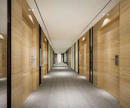 Photo pour 3d rendering modern luxury wood and tile hotel corridor - image libre de droit