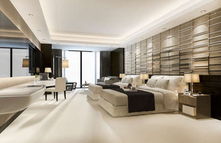 Photo pour 3d rendering luxury classic modern bedroom suite in hotel with king size bed - image libre de droit