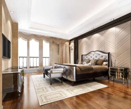 Photo pour 3d rendering luxury classic modern bedroom suite in hotel - image libre de droit