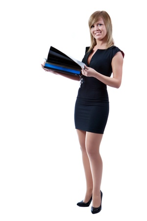Photo pour Portrait of a smiling blonde businesswoman with  folders in hands. Isolated on white background. - image libre de droit