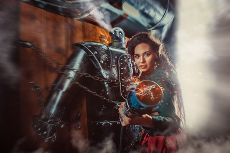 A beautiful woman with the connector of burning male robot.