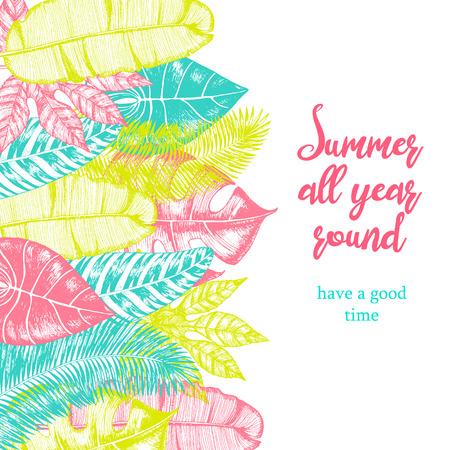 Illustration pour Tropical palm leaves. Jungle bright design template. Vector illustration - image libre de droit