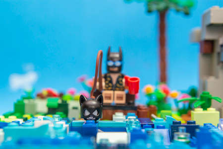 Florianopolis, Brazil. September 20, 2020: Batman minifigure fishing catwoman in lake. Concept of fishing love. Super heroes love it too. Selective focus.
