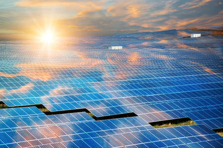 Photo for Solar panels, photovoltaic - alternative electricity source - selective focus, copy space - Royalty Free Image