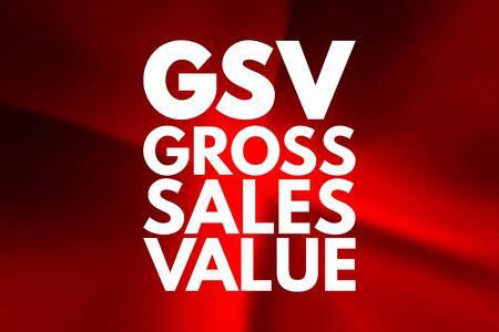 Photo pour GSV - Gross Sales Value acronym, business concept background - image libre de droit