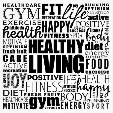 Photo for Healthy Living word cloud collage, health concept background - Royalty Free Image