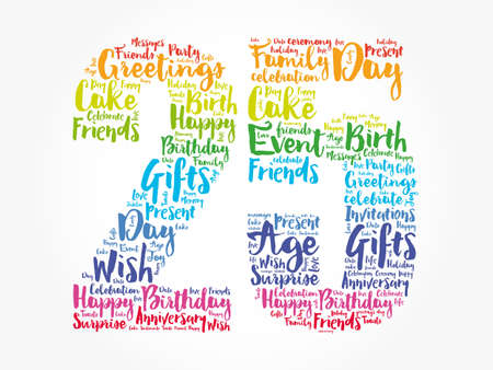 Photo for Happy 25th birthday word cloud, holiday concept background - Royalty Free Image
