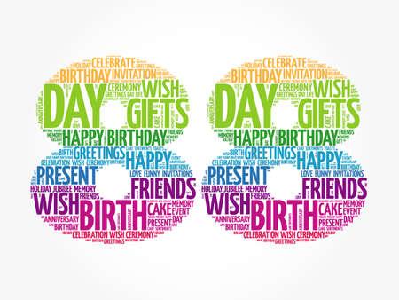 Photo pour Happy 88th birthday word cloud, holiday concept background - image libre de droit
