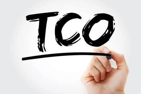 Photo pour TCO - Total Cost of Ownership acronym with marker, business concept background - image libre de droit