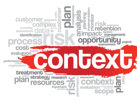 Context concept in word tag cloud, vector background