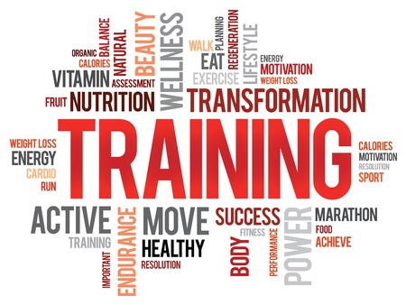 Foto de TRAINING word cloud, fitness, sport, health concept - Imagen libre de derechos