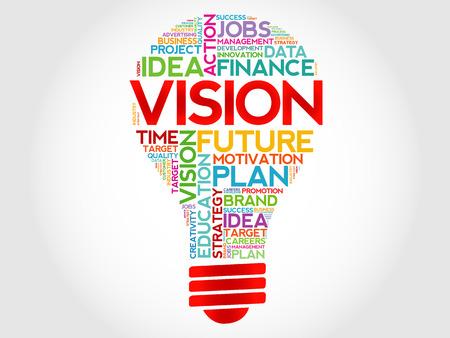 Vektor für VISION bulb word cloud, business concept - Lizenzfreies Bild