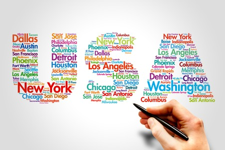USA, cities names word cloud travel concept