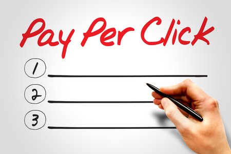 PAY PER CLICK (PPC) blank list, business concept