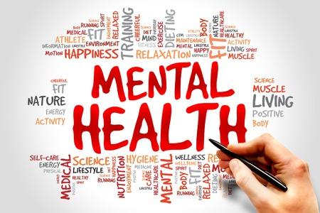 Foto de Mental health word cloud, health concept - Imagen libre de derechos