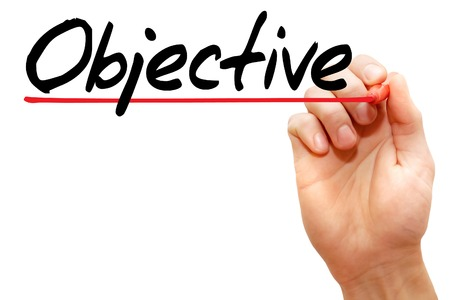 Hand writing Objective with marker, business concept