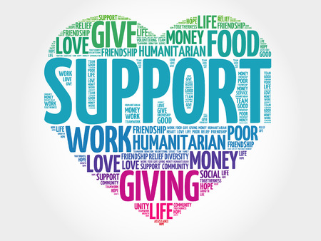 Illustration for Support word cloud, heart concept - Royalty Free Image