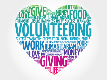 Illustration for Volunteering word cloud, heart concept - Royalty Free Image