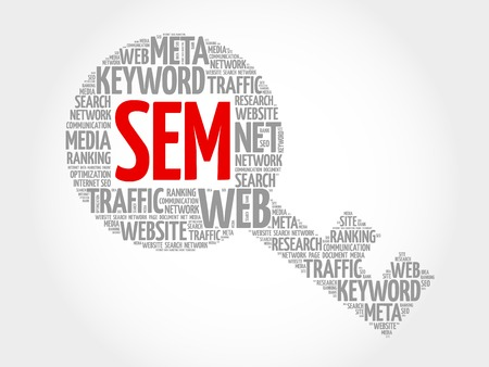 SEM - Search Engine Marketing Key word cloud, business concept