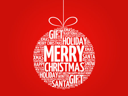 Illustration pour MERRY CHRISTMAS, Christmas ball word cloud, holidays lettering collage - image libre de droit