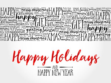 Illustration pour Happy Holidays. Christmas background word cloud, holidays lettering collage - image libre de droit