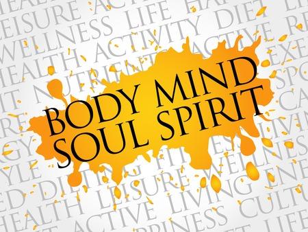 Vektor für Body Mind Soul Spirit word cloud, health concept - Lizenzfreies Bild