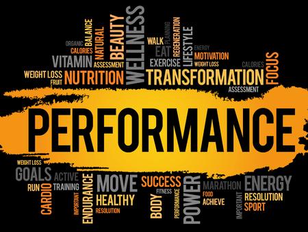 Illustration pour PERFORMANCE word cloud, fitness, sport, health concept - image libre de droit
