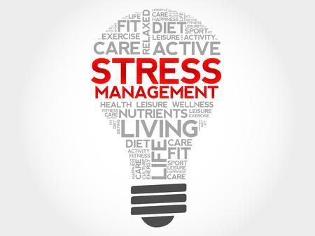 Illustration pour Stress Management bulb word cloud, health concept - image libre de droit