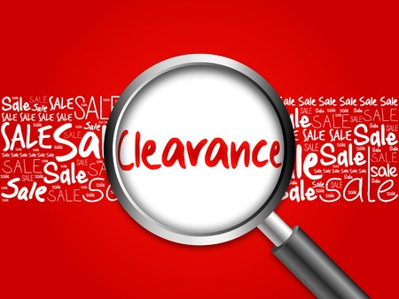 Clearance sale word cloud with magnifying glass, business concept