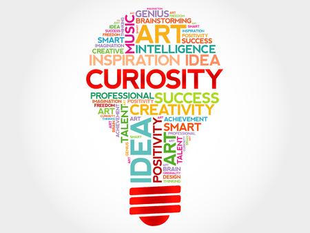 Illustration pour Curiosity bulb word cloud concept - image libre de droit