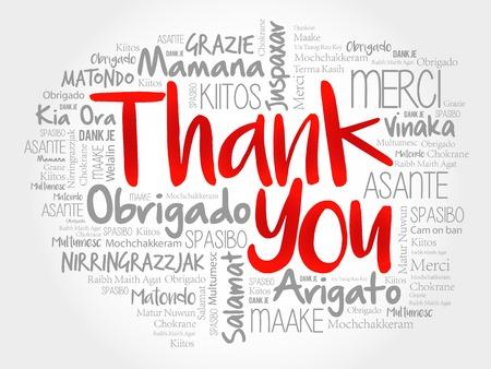 Illustration pour Thank You Word Cloud, all languages - image libre de droit