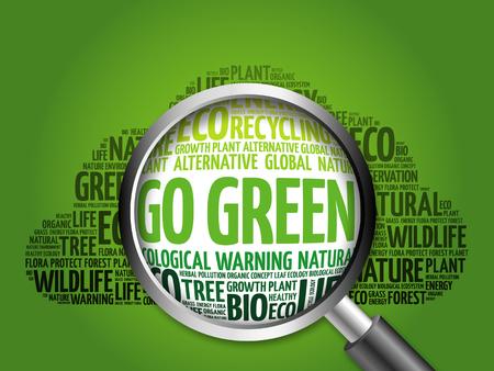 Photo pour Go Green word cloud with magnifying glass, ecology concept - image libre de droit