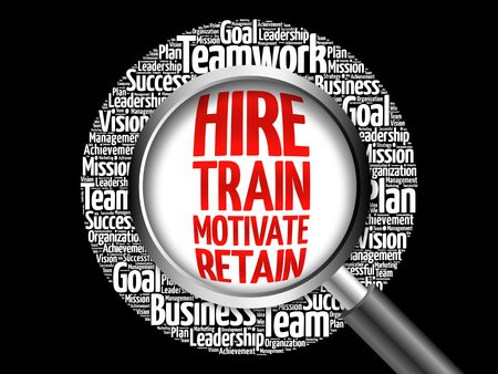 Photo for Hire, Train, Motivate and Retain word cloud with magnifying glass, business concept - Royalty Free Image
