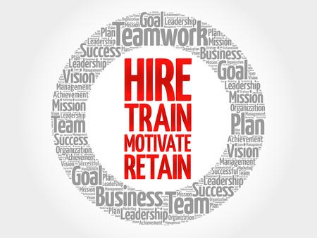Illustration pour Hire, Train, Motivate and Retain circle word cloud, business concept - image libre de droit
