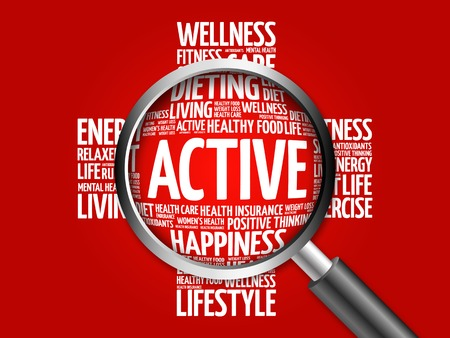 ACTIVE word cloud with magnifying glass, health concept