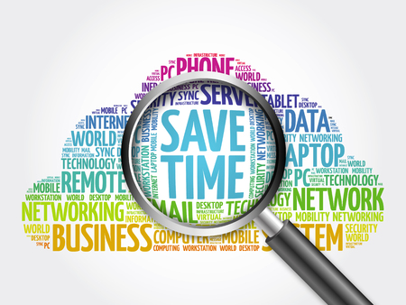 Save Time word cloud with magnifying glass, business concept