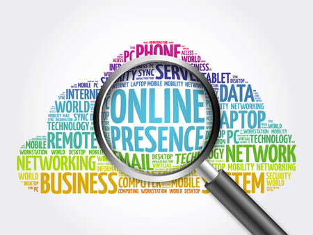 Online Presence word cloud with magnifying glass, business concept