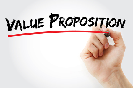 Hand writing Value Proposition with marker, concept background