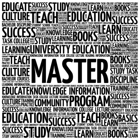 Master word cloud, education concept background