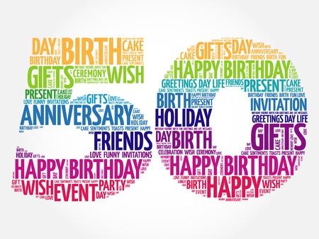 Illustration pour Happy 50th birthday word cloud collage concept - image libre de droit