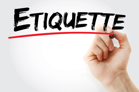 Hand writing Etiquette with marker, business concept