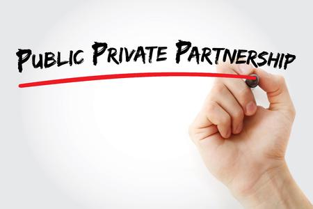 Photo pour Hand writing Public-private partnership with marker, concept background - image libre de droit