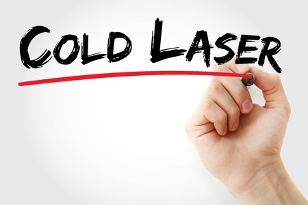 Photo for Hand writing Cold laser with marker, concept background - Royalty Free Image
