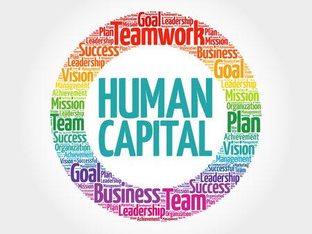 Ilustración de Human capital circle word cloud, business concept - Imagen libre de derechos